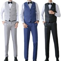 Men's Suits & Blazers Vest Business Suit Male Slim Fit Set V Neck Formal Men Solid Color Buttons Shirt Pants Clothing