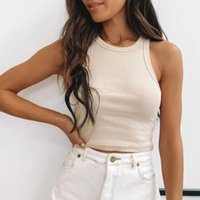 Women's Tanks & Camis Ribbed Tank Top Women White 2021 Summer Casual Fitness Short Vest Candy Colors Knitted Off Shoulder Sexy Crop