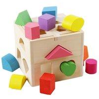 나무 13 지능 매칭 빌딩 블록 13 구멍 조기 교육 퍼즐 모양 드롭 박스