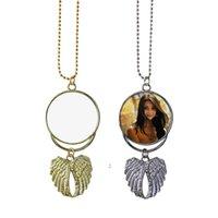 Collana di sublimazione Blank Blank Pendente Angelo Ala Collane Decorazione Appeso Appeso Ornamenti di fascino Accessori gioielli OWB8542