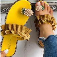 Pantoufles Rela Bota Ananas Femmes Appartement Fond Summer All-Match Split Toe Sandales de cristal Femme Chaussures de plage en plein air