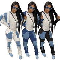 Two Piece Set Women Track Suit Long Sleeve Denim Jacket Crop Top And Patchwork Jeans Stacked Pants Sets Wholesale Drop Women's Tracksuits
