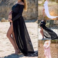 Abiti incinti per Shoot Pougno Delle Donne Maternity Pizzo Party Sexy Robe One-Spalla Maniche lunghe Vestito Outwear Casual