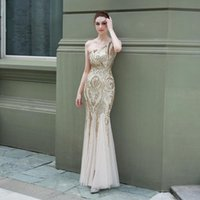 Party Dresses Mermaid One Shoulder Sequined White Evening Gown Backless Gold Appliques Formal Prom Burgundy Dress For Women Wedding