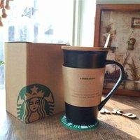 """Starbucks """"쓰기""""세라믹 커피 컵 355ml 클래식 펜 커버 뚜껑 코스터 선물 세트가있는 흑백 찻잔"""