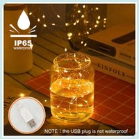 Strips Copper Wire Lights String Waterproof LED Beads USB Rechargeable Lamp Christmas Tree Garland Wedding Party Decoration