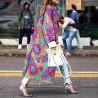 Trinchera manga completa pañuelo de impresión abrigos casual moda abrigo mujer rompevientos exteriores vendaje largo 5xl