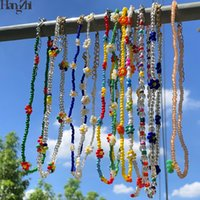 HangZhi 2020 New Korean Sweet Colorful Little Daisy Acrylic Flowers Boho Beaded Clavicle Necklaces for Women Girls Jewelry