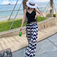 2021 파리 패션 디자이너 여성의 바지 넓은 다리 바지 순수 나무 편안한 통기성 야외 해변 캐주얼 바지