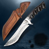 VG10 Damascus Steel Ebony Fixed Blade Tactical Knife Belt Sheath Jungle Craft Outdoor Hunting Survival Camping Tool