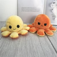 New 2021 Creative Reversible Flip Octopus Doll Cute Mood Double-sided Stuffed Animals Pillow For Children Gift Baby Toys 1979 V2