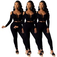 Women Tracksuits fall winter clothing running jogger sweatshirt pants sportswear pullover lace-up leggings outfits hoodies outerwear off shoulder bodysuit 01719