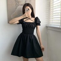 Vestito da donna gotico suchcute Ruffles Estate 2020 Vintage Y2K Dress Dress Femmina Abiti da festa 90s Estetica Slim Clubwear Y0628