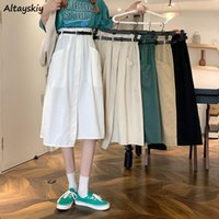 Skirts Women Casual A-line Simple 5 Colors Fashion Empire Students Patchwork All-match Streetwear Korean Style Asymmetrical Lady