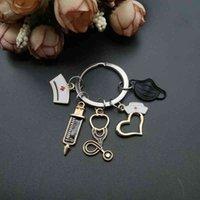 Keychains Design Keychain Doctor Medical Tool Stethoscope Syringe Mask Key Ring Nurse Student Gift Souvenir