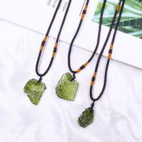Natural Czech Glass Meteorite Necklace Pendants Crystal Gravel Green Charm Moldavite Jewelry For Men Women Necklaces Decor Gift