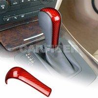 Red Real Carbon Fiber Car Gear Shift Lever Knob Cover Trim Sticker For BMW E90 E91 E60 E61 E63 E64 E85 E86 E83 E53 Accessories