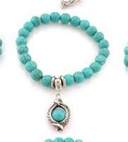 Модные бирюзовые бусины браслеты дерево сова дельфин крест ладонь очарование браслеты для мужчин женские ювелирные аксессуары 176 O2