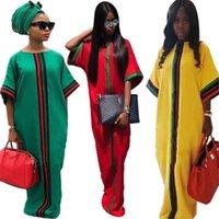 Rahat Geleneksel Afrika Uzun Maxi Elbise Yaz Dijital Baskı Yarım Kollu Robe Abiye Elbiseler Gevşek Artı Boyutu Kadın Giyim S-2XL