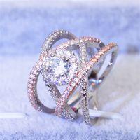 Size5 / 6/7/8/9/10 Victoria Weick Takı 925 Ayar Gümüş Dolu Beyaz Safir Altın Kadınlar Düğün Nişan Marka Yüzük Hediye 1056 Q2