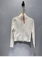 Леди вершины шерстяных свитер вязаные рубашки рубашки на молнии на молнии наклеивание регунция красная буква полосатые шеи повседневные женщины тонкие свитеры с длинным рукавом рубашки весна осенний стиль размер S-L