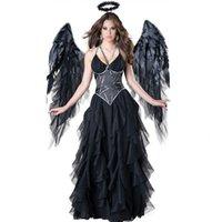 Womens Dark Sexy Angel Costume Woman Halloween 3pcs Spaghetti Strap Mesh Patchwork Cosplay Dresses Women Black Witch Costume