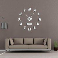 ساعات الحائط diy عملاق ساعة مرآة تأثير آريليك الفن كيرن ترير pet feisty حيوية الكلاب هدية الفنية ديكور المنزل