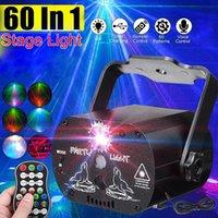 LED Disko Işık Noel Lazer Projektör RGB 60 Desenler Parti Dekorasyon Soundlights DJ Sahne Işık Cadılar Bayramı Ev için