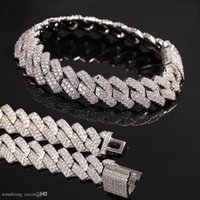 New Arrival Personalized Gold Bling Diamond Mens Cuban Link Chain Bracelet Iced Out Cubic Zirconia Curb Wristband Chains Jewelry