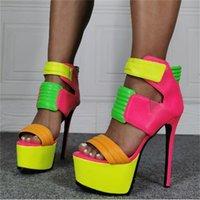 Dipsloot mujer sexy limón amarillo verde rosado pink roschwork gancho plataforma plataforma súper delgada tacones peep toe sandals club shoes