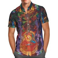 Hawaii Shirt Hawaiian Beach Summer Fashion Guitare Imprimé 3D Hommes Harajuku Tee Hip Hop Shirts 02 Casual