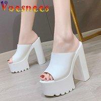 VOOSNEES Kadın Terlik Rahat Su Geçirmez Platformu Sandalet Moda Yaz Saf Renk Fang Topuk Yüksek Topuklu Ayakkabı 2021