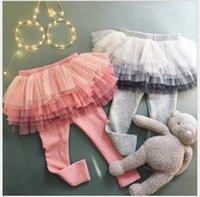 Designer Fashion children's clothing designer Girls Pants Autumn Winter Kids Lace Net Yarn Tights Girl Leggings With Skirt Children Pantskir