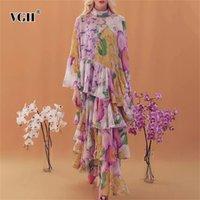 Elegante vestito floreale stampa irregolare per le donne Stand Collar Flare Manica Lunga Patchwork Abiti Abiti allentati Maxi Abiti Femmina 210531