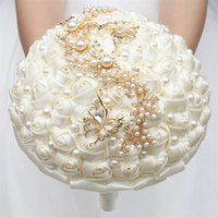 Wedding Flowers Multicolor Ribbons Artificial Bride Bridesmaid Corsage Beaded Bouquet Gold Diamond Brooch Bridal Holding