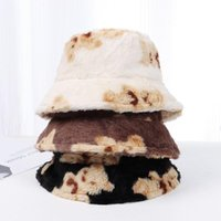 Wide Brim Hats Women Men Cute Bear Outdoor Autumn Winter Bucket Hat Fisherman Panama Cap Lamb Wool