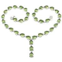 39x9mm Büyük Avrupa Tasarım 39g Oluşturulan Yeşil Ametist Tanzanit Kadınlar Için Düğün Gümüş Kolye 18-19 inç