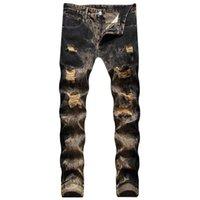 Männer Jeans Kimsere Man Hi Street zerstört Hip Hop Mode Streetwear Ripping Tir Farbstoff Jeans Hosen Hose mit Löchern Plus Größe 30-42
