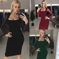 Casual Dresses Female Slim Fit Sexy Slit Pack BuSquare Neck Elegant Dress Woman's Mesh Stitching High Waist Knee Length Long Sleeve