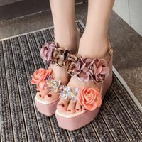 House Slippers Platform Shoes Woman 2021 Pantofle Heeled Mules Luxury Slides On A Wedge Flower High Designer Rubber Fabric S