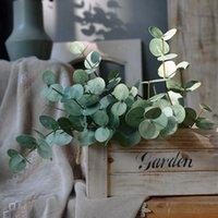 الزهور الزخرفية أكاليل الطازجة يشعر eucalyptus محاكاة النبات الأخضر يترك النمط الشمالي الديكور الداخلي تأثيث المنزل خطة وهمية