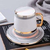 Europäische Sherlock Perle Glasur Keramik Tasse Sets 3 stücke Mit Deckel Gericht Löffel Anzug Tassen Milch Tee Kaffee Drink 400ml