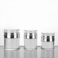 15 30 50G Perle Banque acrylique JAR sans air de crème de crème avec collier d'argent 15 30 50 ml Bouteille de pompe à aspiration cosmétique
