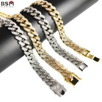 European and American Bracelet Hip Hop Domineering 12.5mm Full Diamond Large Gold Chain Cuban Chains Necklace