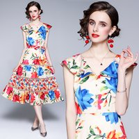 Trendy Womens Floral Dress Sleeveless Ruffle Summer Printed Dress High-end Fashion Lady Dresses Party Holiday Dresses