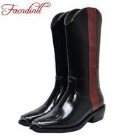 Facndinll Kadın Çizmeler Yeni Moda Hakiki Deri Ve Patent Deri Kare Med Topuklu Ayakkabı Kadın Siyah Diz Yüksek Çizmeler