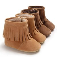 First Walkers Baby Shoes Boy Girl Crib Winter Faux Suede Tassel Boots Toddler Moccasins