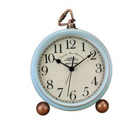 Desk & Table Clocks 1pc Creative Retro Vintage American Style Alarm Clock For Home Without Battery (Blue Mumber)