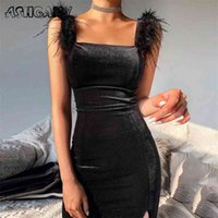 Ashgaily New Sexy Samtkleid Frauen Sleeveless Kleid Feste Federn Bodycon Kleidung Party Club Outfits Femme 210331