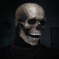 Halloween Full Head Skull Mask Helmet With Movable Jaw Entire Realistic Look Adult Latex 3D Skeleton Scary Skulls Masks RRB10602